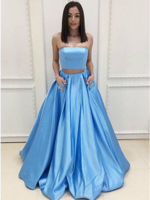 Two Piece Strapless Sweep Train Light Blue Prom Dress with Pockets Beading