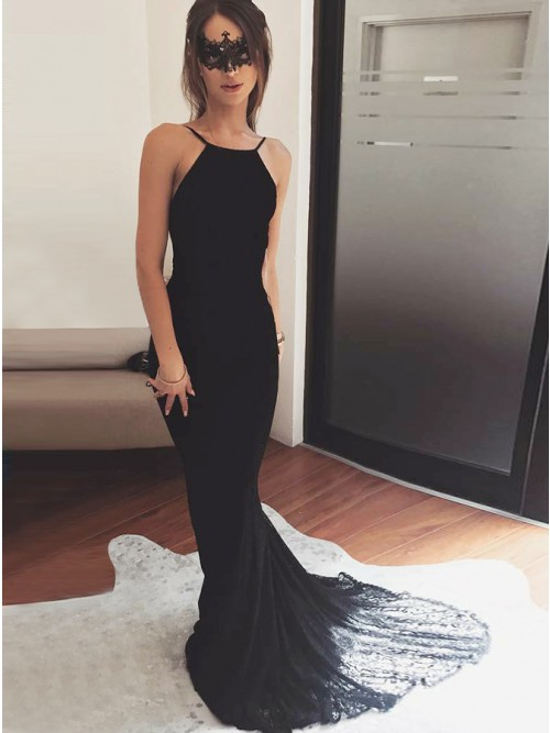 Mermaid Spaghetti Straps Backless Black Lace Prom Dress with Pleats ...