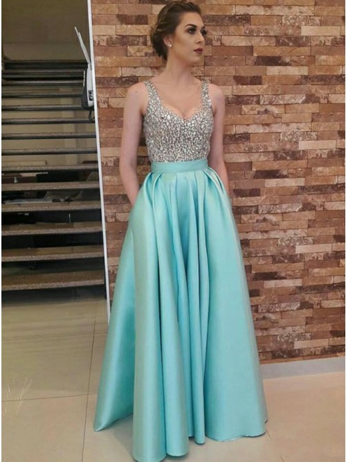 A-Line Scoop Floor-Length Sky Blue Prom Dress with Pockets Beading ...
