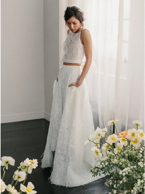 Two Piece Crew Sleeveless Sweep Train Open Back Ivory Lace Wedding ...