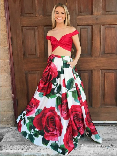 Two Piece Off-the-Shoulder White Satin Printed Prom Dress with Pockets