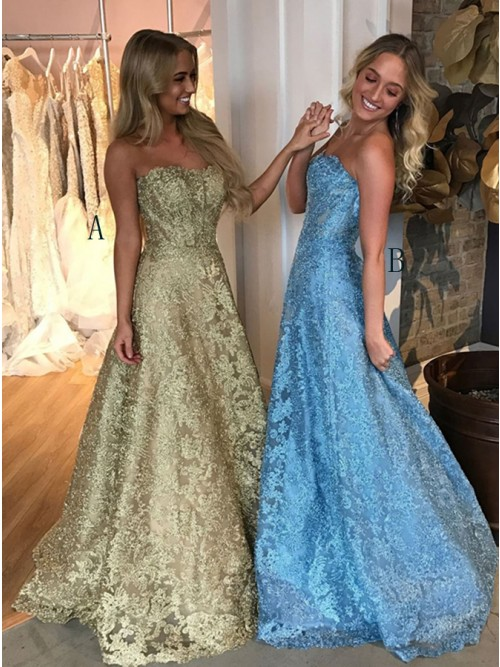 A-Line Sweetheart Backless Floor-Length Gold Lace Prom Dress