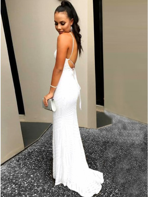 Mermaid V-Neck Backless Sweep Train White Lace Prom Dress $128.99 ...