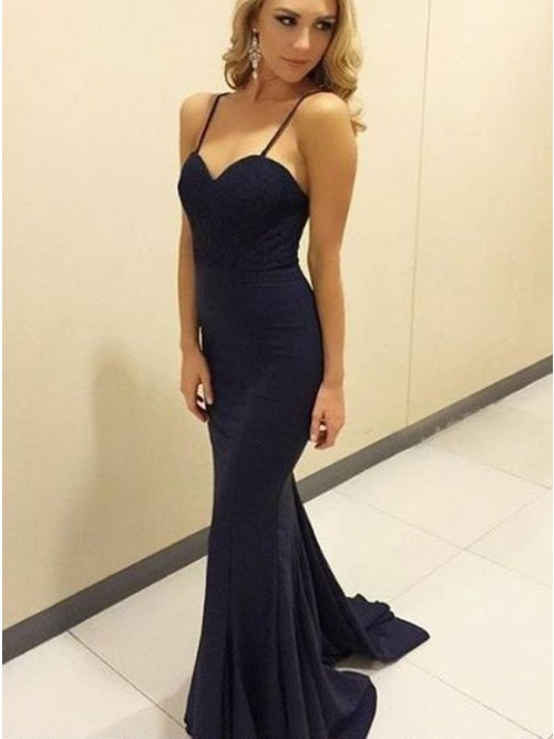 Mermaid Spaghetti Straps Sweep Train Black Prom Dress with Lace ...