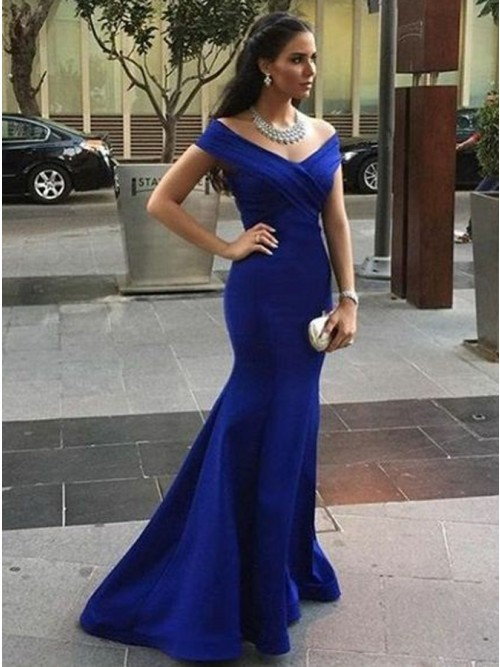 Mermaid Off-the-Shoulder Sweep Train Royal Blue Prom Dress with ...