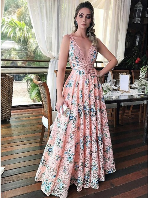 A-Line Scoop Sleeveless Floor-Length Pink Floral Lace Prom Dress ...