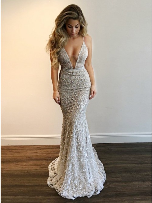 Mermaid Deep V-Neck Backless Sweep Train Silver Lace Prom Dress