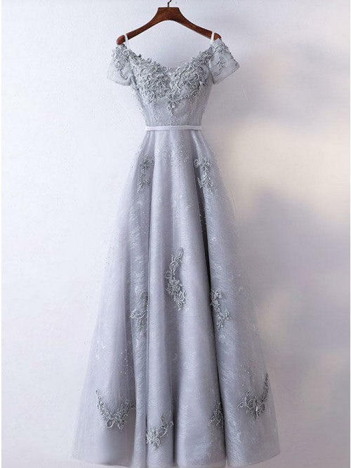 A-Line Crew Neck Short Sleeves Grey Lace Prom Dress with Beading