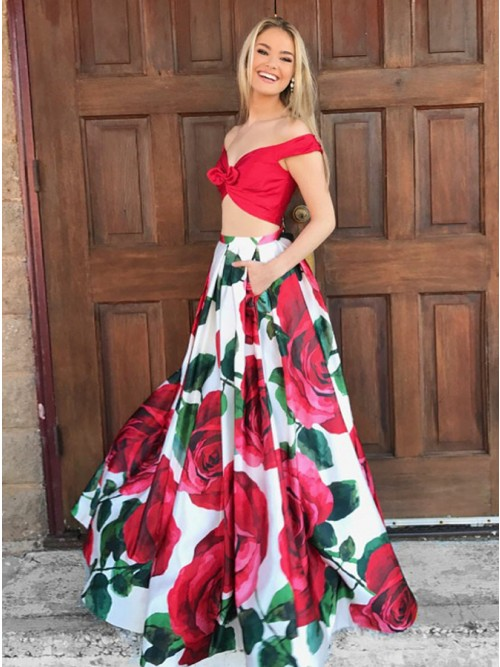 a6b80a6cf28 Two Piece Off-the-Shoulder Floor-Length Floral Prom Dress with Pockets