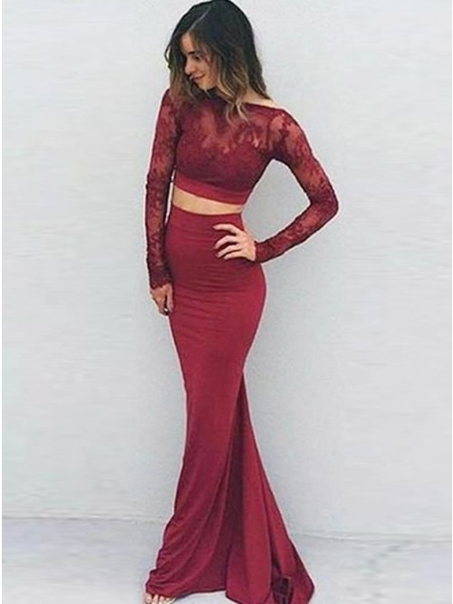Two Piece Bateau Long Sleeves Floor-Length Burgundy Prom Dress with ...