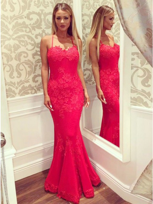 Mermaid Spaghetti Straps Floor-Length Hot Pink Prom Dress with ...