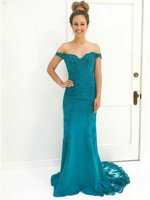 Mermaid Off-the-Shoulder Sweep Train Turquoise Prom Dress with ...
