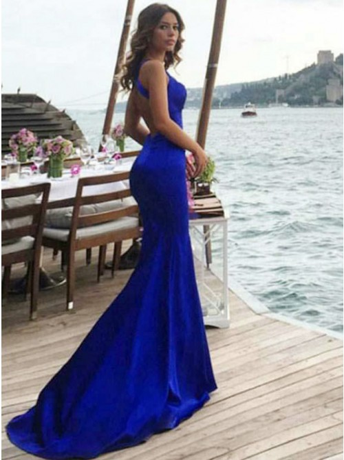Mermaid Cross Neck Backless Sweep Train Royal Blue Prom