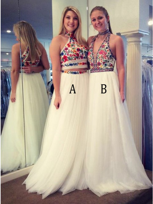Two Piece High Neck Floor-Length White Prom Dress with Embroidery ...