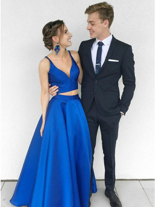 Two Piece V-Neck Floor-Length Royal Blue Satin Prom Dress with ...