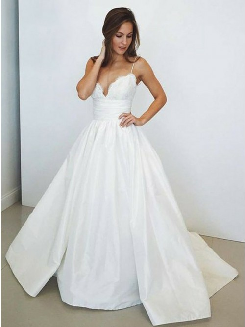 A-Line Spaghetti Straps Sweep Train White Prom Dress with Lace ...