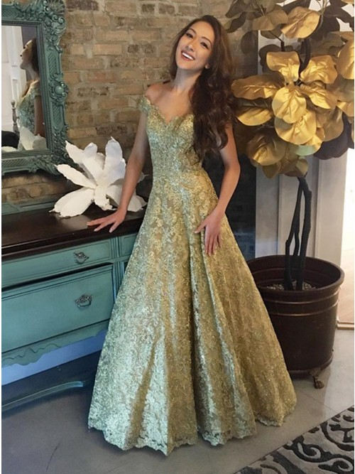 A-Line Off-the-Shoulder Floor-Length Gold Lace Prom Dress
