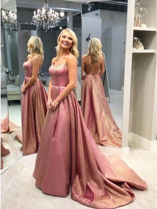 A-Line Spaghetti Straps Backless Sweep Train Rose Pink Prom Dress with Pleats