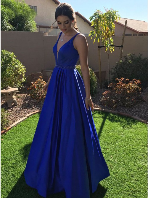 A-Line V-Neck Floor-Length Royal Blue Satin Prom Dress with Beading ...