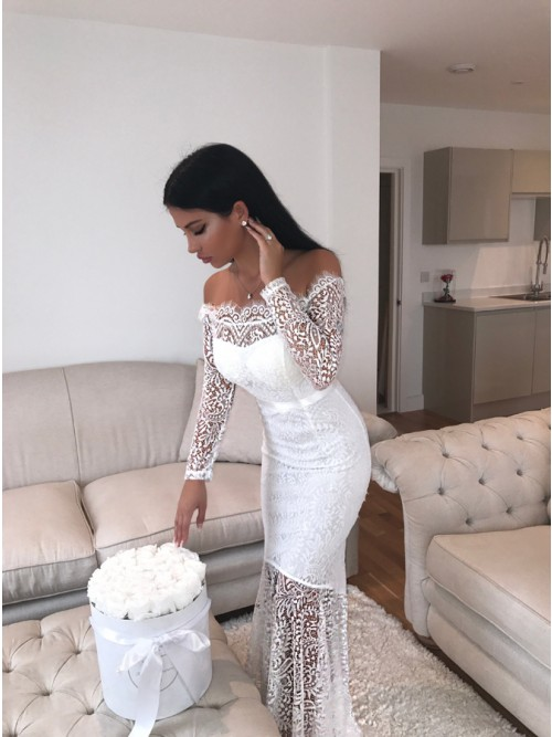 Mermaid Off-the-Shoulder Long Sleeves Floor-Length White Lace Prom ...