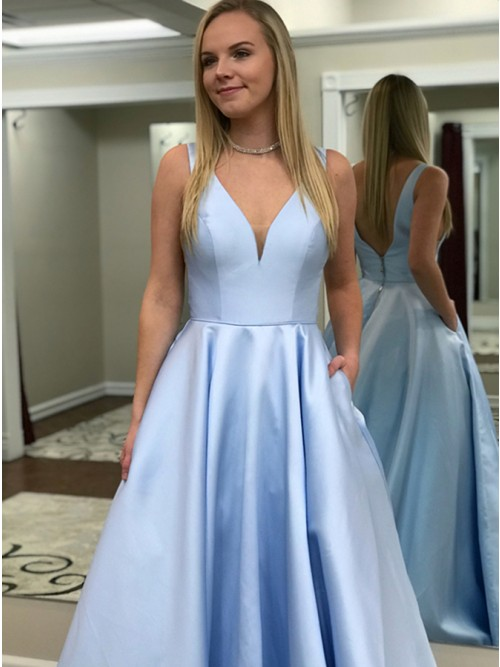 A-Line V-Neck Backless Sweep Train Light Blue Prom Dress with ...
