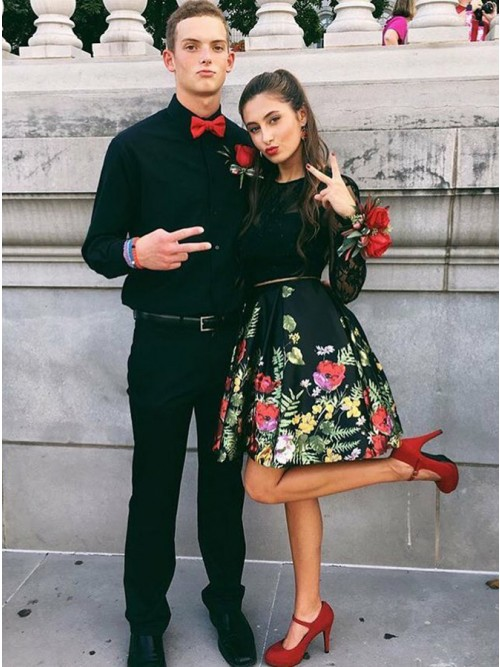 Two Piece Crew Open Back Above-Knee Black Printed Prom Homecoming Dress with Pockets