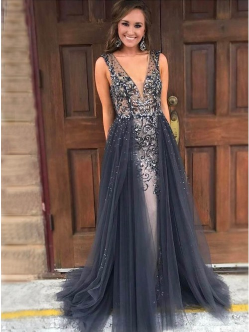 A-Line V-Neck Sweep Train Grey Detachable Prom Dress with Beading