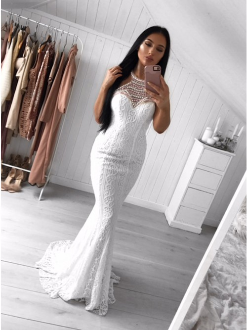 Mermaid Crew Sweep Train White Lace Prom Dress with Pearls $168.99 ...