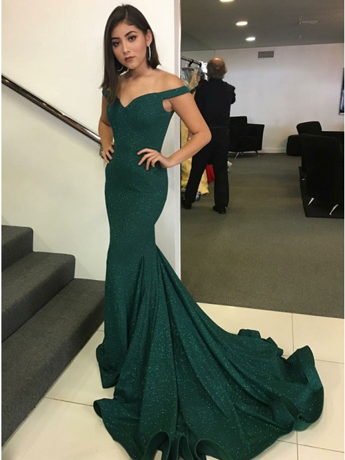 a4e47e21298 Mermaid Off-the-Shoulder Sweep Train Dark Green Prom Dress with Sequins