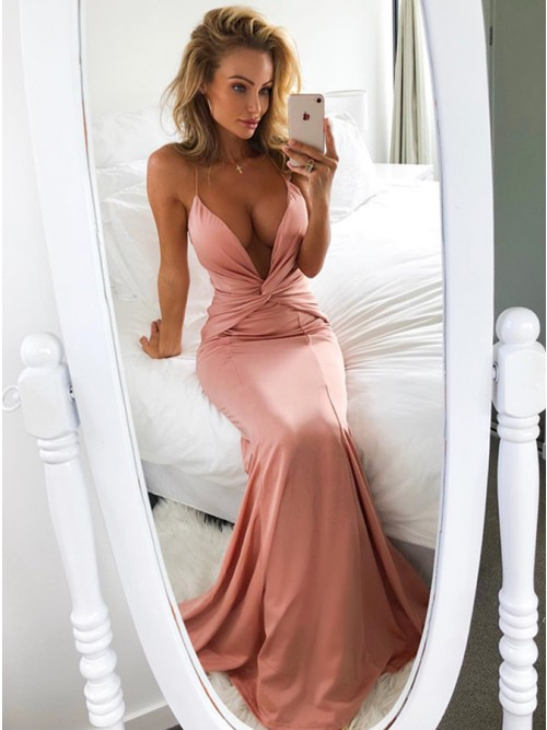 Mermaid Deep V-Neck Sweep Train Blush Prom Dress with Ruched $109.99 ...