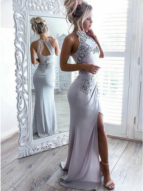 Mermaid High Neck Open Back Long Grey Prom Dress with Appliques ...