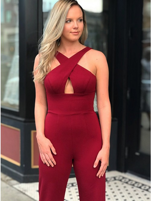 Sheath Cross Neck Backless Burgundy Prom Jumpsuit with Keyhole