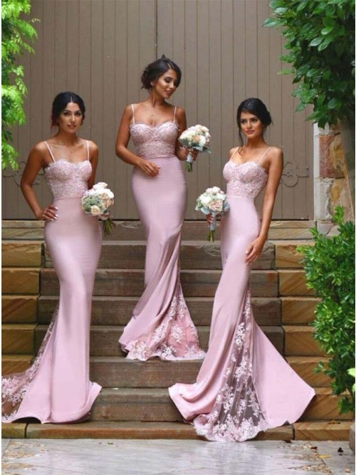 Generous Spaghetti Straps Sweep Train Pink Mermaid Bridesmaid Dress with Lace