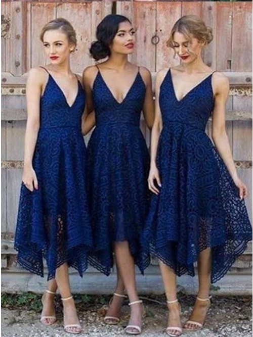 A-Line V-Neck Asymmetry Navy Blue Lace Bridesmaid Dress