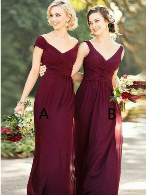Sheath Off-the-Shoulder Floor-Length Burgundy Bridesmaid Dress with ...