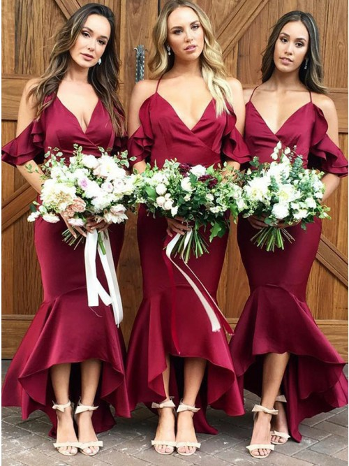 Mermaid Cold Shoulder Floor-Length Burgundy Bridesmaid Dress with Pleats