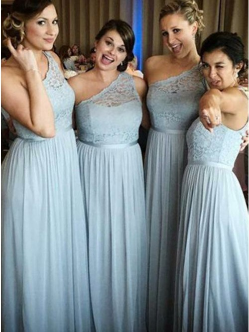A Line One Shoulder Floor Length Light Blue Bridesmaid Dress With Lace