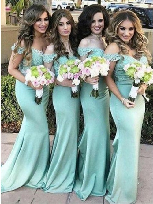 f1c39215575 Mermaid Off-the-Shoulder Sweep Train Turquoise Bridesmaid Dress with  Appliques …