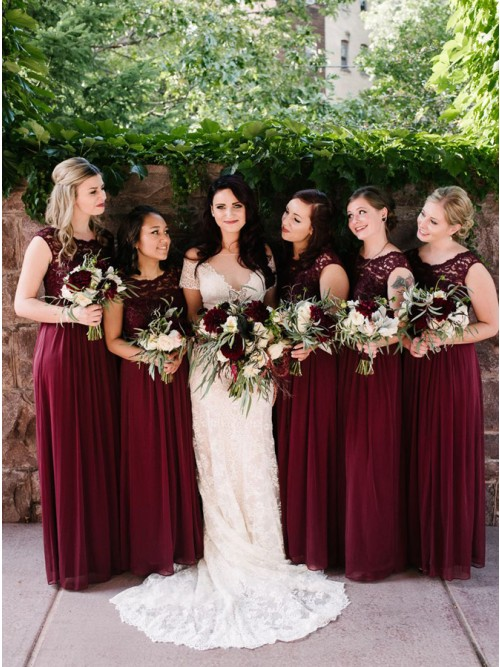 A-Line Round Neck Floor-Length Burgundy Chiffon Bridesmaid Dress with Lace