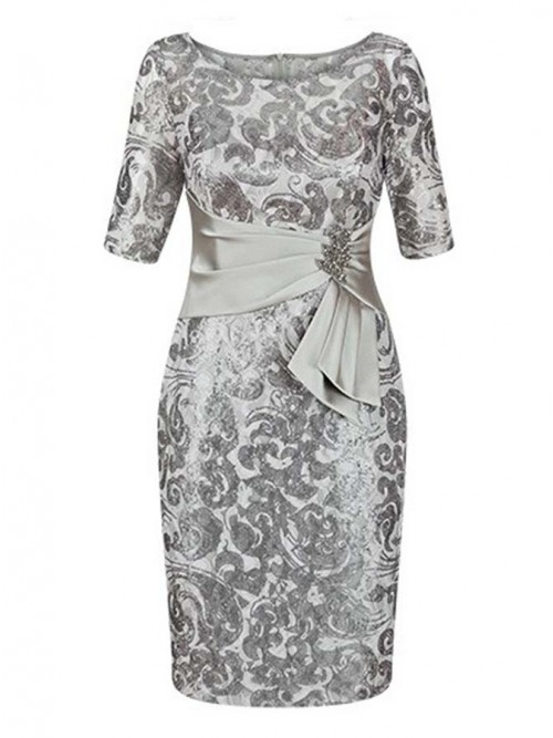 Bodycon Bateau Short Sleeves Silver Floral Satin Mother of The Bride Dress
