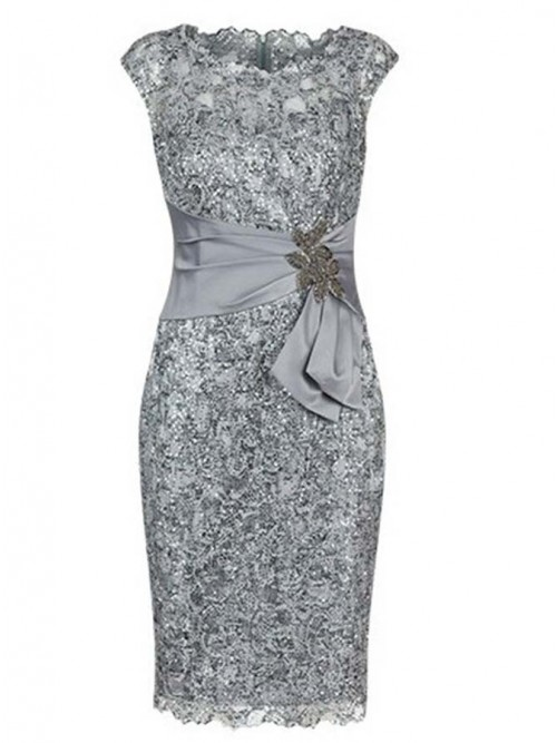 Bodycon Bateau Cap Sleeves Light Grey Lace Mother of The Bride Dress with Appliques