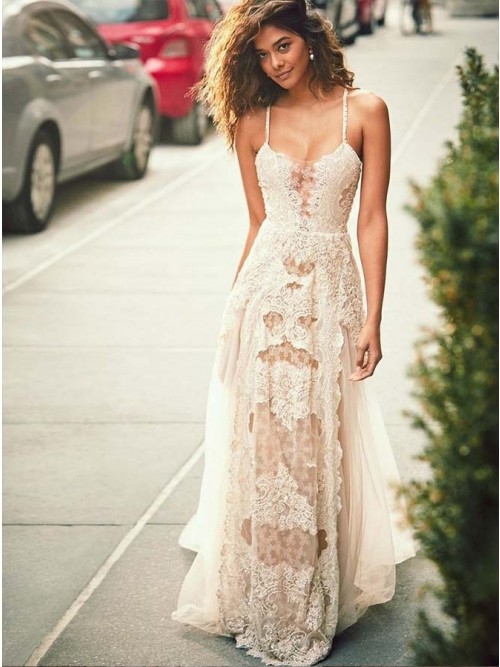 A-Line Spaghetti Straps Appliques Champagne Wedding Dress with Lace ...
