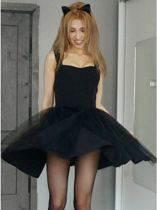 A-Line Square Neck Black Tulle Short Homecoming Party Dress