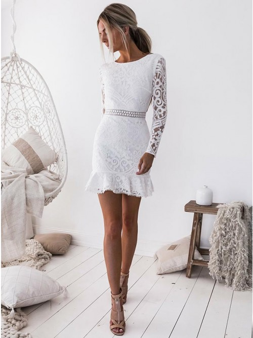Sheath Crew Open Back Long Sleeves Short White Lace Homecoming ...
