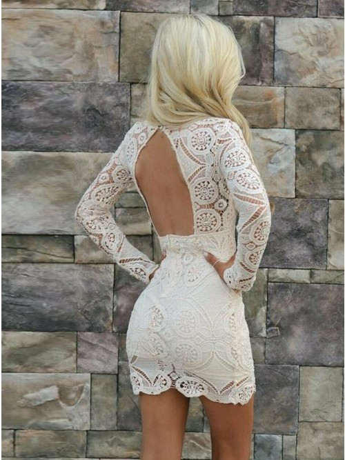 94630f21d20 Sheath V-Neck Long Sleeves Open Back Short White Lace Homecoming Cocktail  Dress
