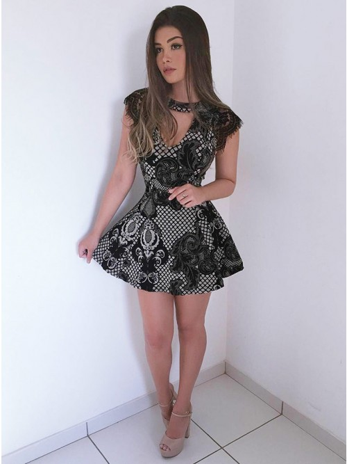A-Line Crew Cap Sleeves Short Black Lace Keyhole Homecoming Cocktail ...