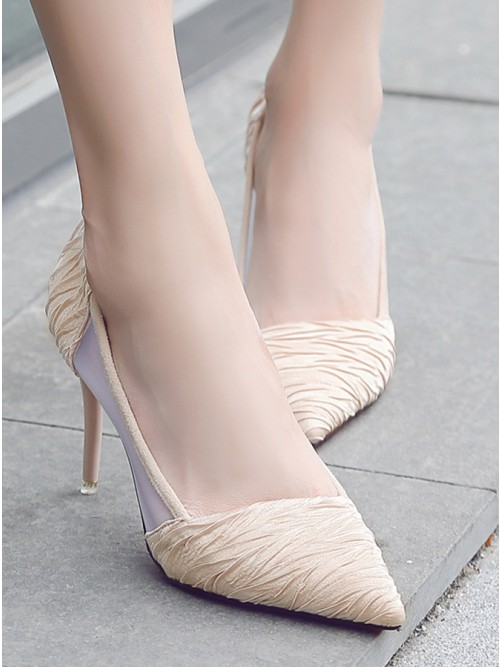 Apricot Pointy Toe Silver Stiletto Heels