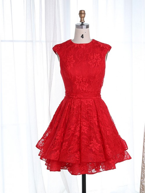 A Line Round Neck Cap Sleeves Short Red Lace Tiered Homecoming Dress