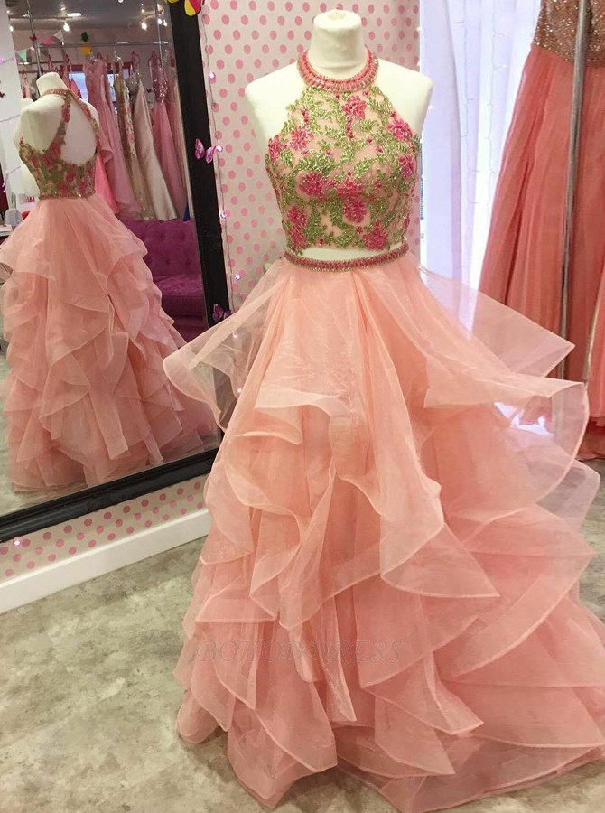 e38353bcb56ee Two Piece Round Neck Tiered Coral Open Back Prom Dress with ...