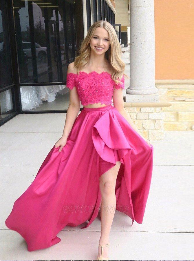 62df5a2f11da Two Piece Off-the-Shoulder Sweep Train Fuchsia Prom Dress with ...